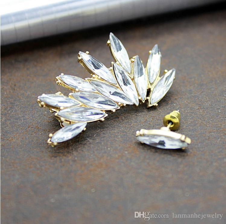 Earrings Çiviler Takı Moda Kadınlar Kalite Tam Yapay elmas Altın Kaplama Kulak Manşet Klip Küpe 2 Parça Set