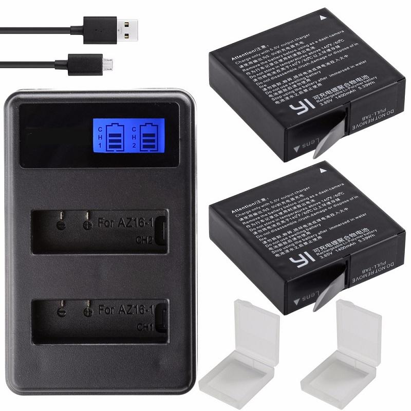 Original Für Xiaomi YI 4K Batterie AZ16-1 USB LCD Dual-Ladegerät Action Kamera 2 4k + Lite Zubehör 1400 mAh Akku