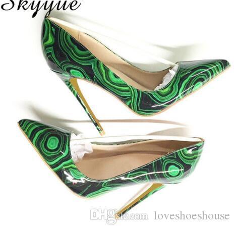 Venta caliente Impreso Punta estrecha de Cuero Mujeres 12 cm Tacones altos Sexy Slip On Mujeres Bombas de Verano Zapatos de Las Mujeres zapatos de Boda de tamaño