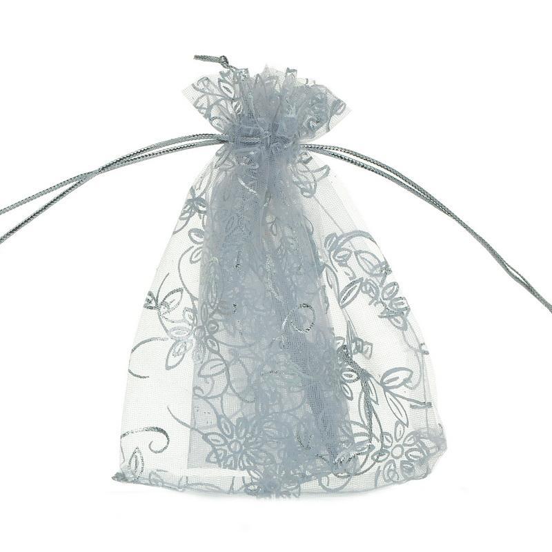 25 PCS De Mode Blanc Feuille Fleur Organza Pochettes Cadeaux Bijoux Sacs Faveur De Mariage Cadeaux Paquet De Stockage Organisateur 10cmx12cm