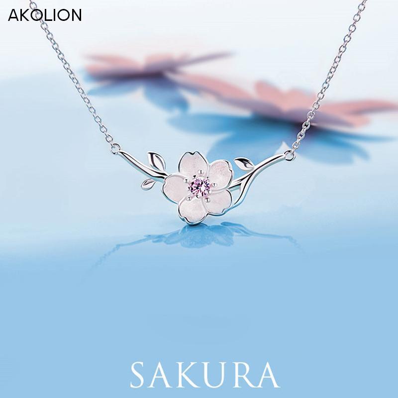 Akolion flor de cerejeira de prata colares de flores de sakura pingentes com corrente gargantilha colar de 925 jóias esterlinas d18111201