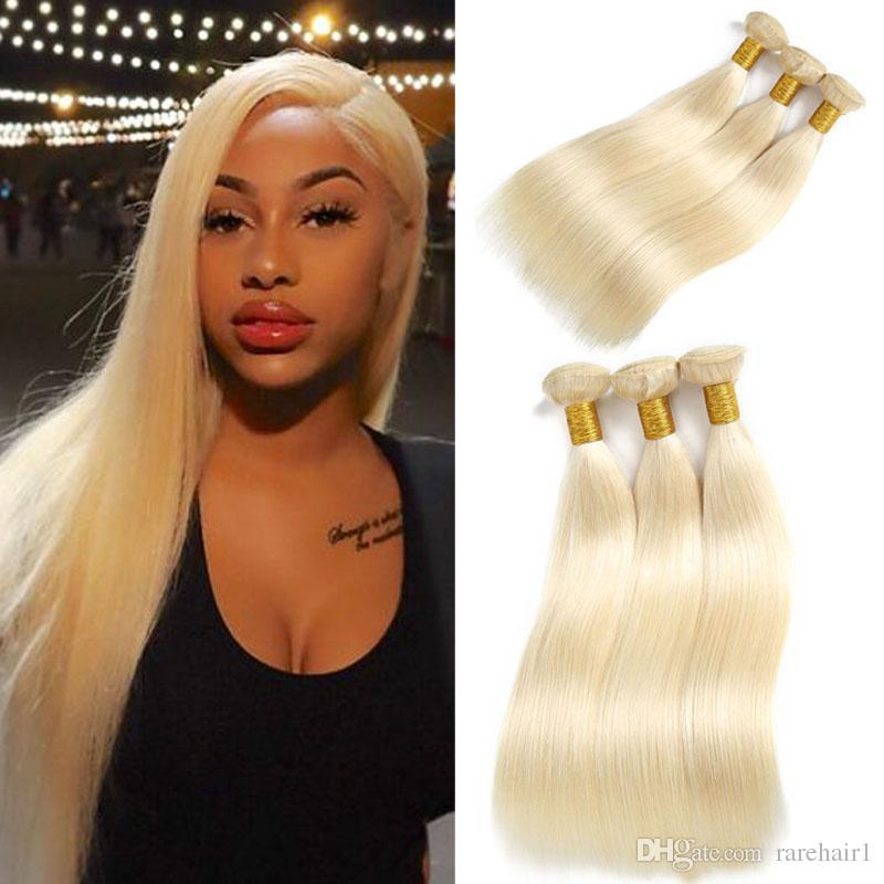 613 Blonde Straight Human Hair 3 Bundles Brazilian Virgin Remy Hair Extensions Vendors Wholesale Price 100% Human Hair Weaves Extensions