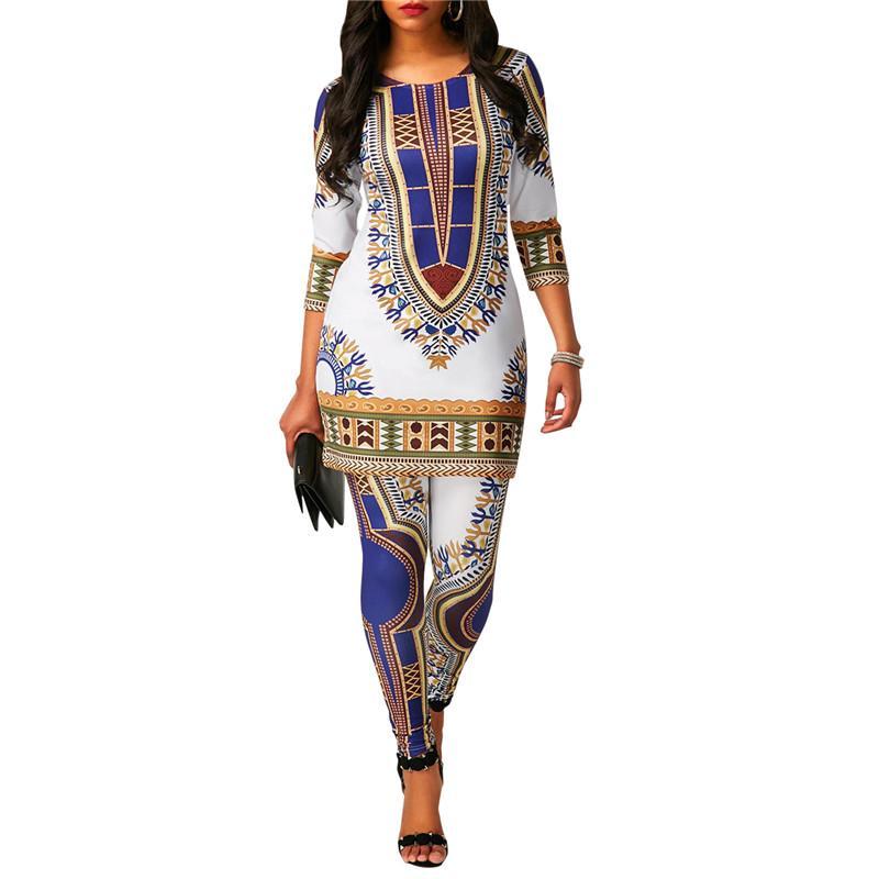 Mulheres Africano Totem Nacional Imprimir Dashiki Two Piece Set com Manga Longa Camiseta Top + Calças Leggings Indie Folk 2 Peça Outfits
