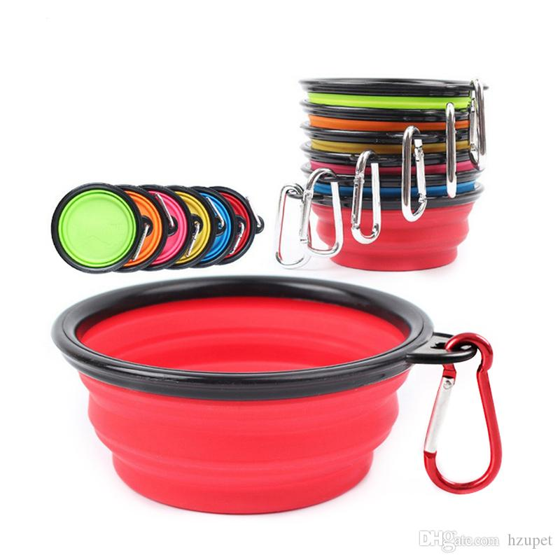 Silicone Folding dog bowl Expandable Dish for Pet feeder Food Water Feeding Portable Travel Bowl portable bowl with Carabiner