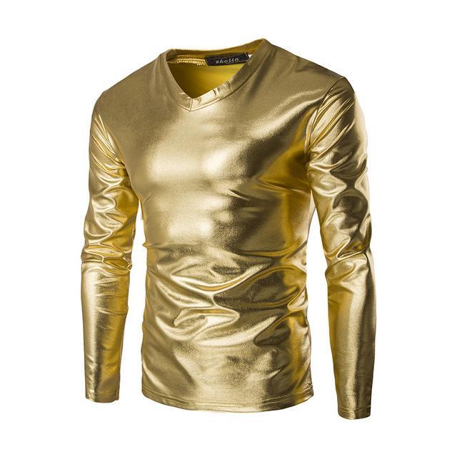 Nowy Trend Metallic Golden T Shirt Men Night Club Moda Męskie Slim Fit V Neck Z Długim Rękawem Tshirt Tee Shirt Homme