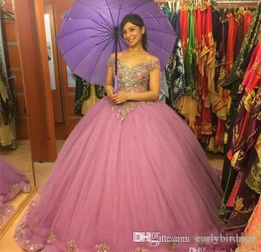 2018 New Ball Gown Quinceanera Dresses with Short Capped Sleeves Beaded Sequins Appliqued Girls Sweet 16 Prom Gowns Pageant Dress BA9928