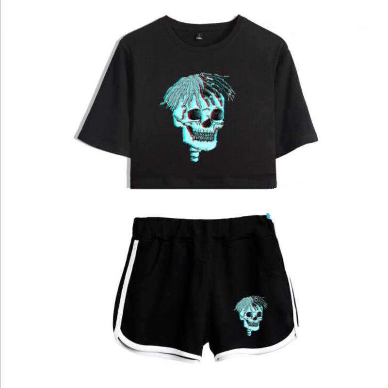 Xxxtentacion 2 Piece Set Women Tracksuit Summer Harajuku Hip Hop Sexy Crop Tops + Shorts Two Piece Outfits Conjunto Feminino