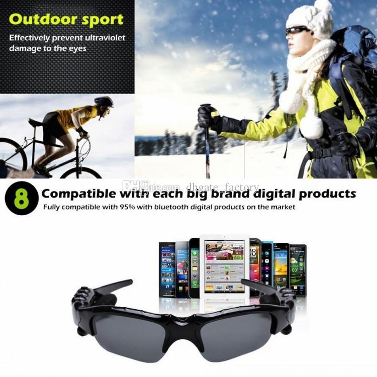 안전 스마트 안경 블루투스 V4.1 선글라스 4 색 태양 유리 스포츠 헤드셋 MP3 플레이어 전화 무선 이어폰 안경