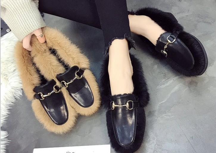 Envío gratis nuevo estilo venta caliente zapatos de vestir de moda zapatos de felpa mujeres zapatos de pelo de conejo a1123456
