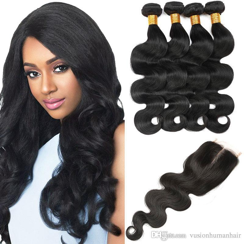Body Wave Brazilian Hair Bundles 4 Pieces With Lace Closure Unprocessed Virgin Human Hair Weave Natural Black Sew In Hair Extensions