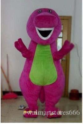 2018 Venda Quente Barney Dinossauro Mascote Costume Caráter Barney Dinossauro Trajes Fantasia Vestido Adulto Vestuário