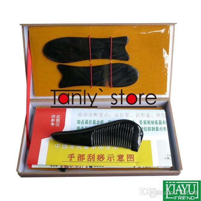 Corno di bufalo al 100%! Scatola rigida per strumento di massaggiatore di agopuntura tradizionale Gua Sha kit di bellezza 5 pezzi / set con pettine a triangolo
