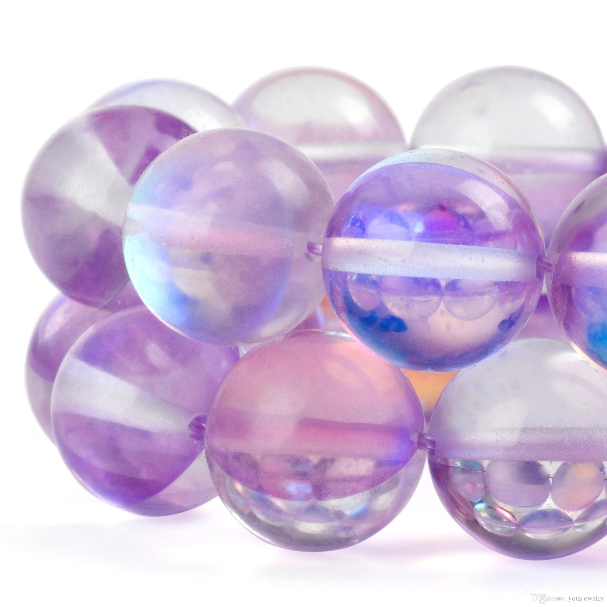 Parlak Yuvarlak Aytaşı Boncuk Işık Mor Kristal Cam AB Buzlu Aura Yanardöner Gevşek Boncuklu Takı Yapımı için 1 Strand 15 Inç 6-12mm