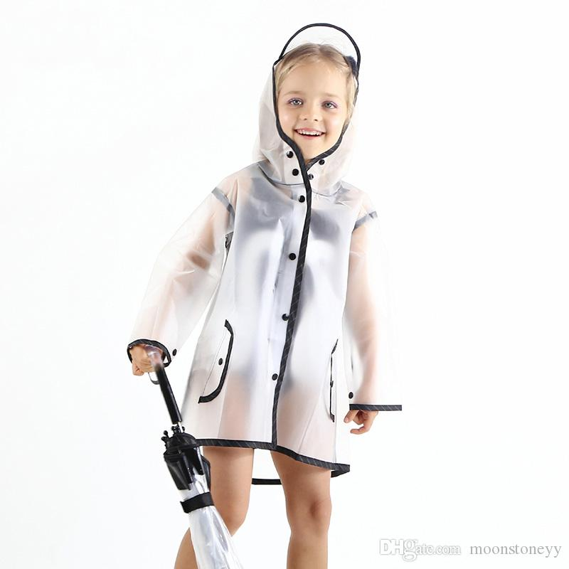 Transparent Plastic Raincoat For Children Waterproof Poncho Student Baby Kids Raincoats For Girls Travel Outdoor For Boys