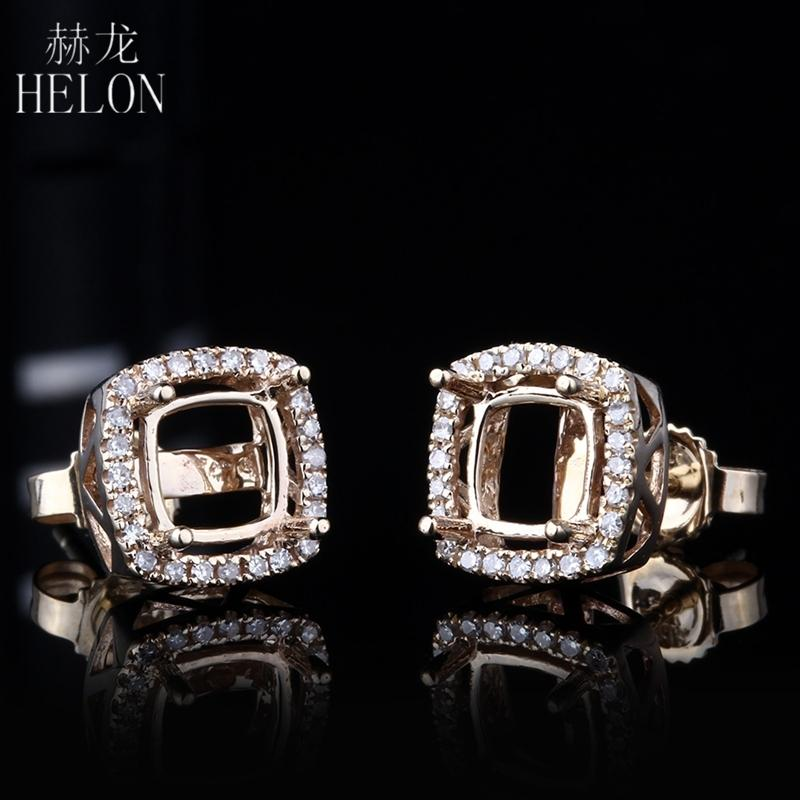 HELON 5mm-6.75mm Cushion Cut Earring Semi Mount in Solid 14K Yellow Gold With Diamond Halo Stud Earring For Women Fine Jewelry