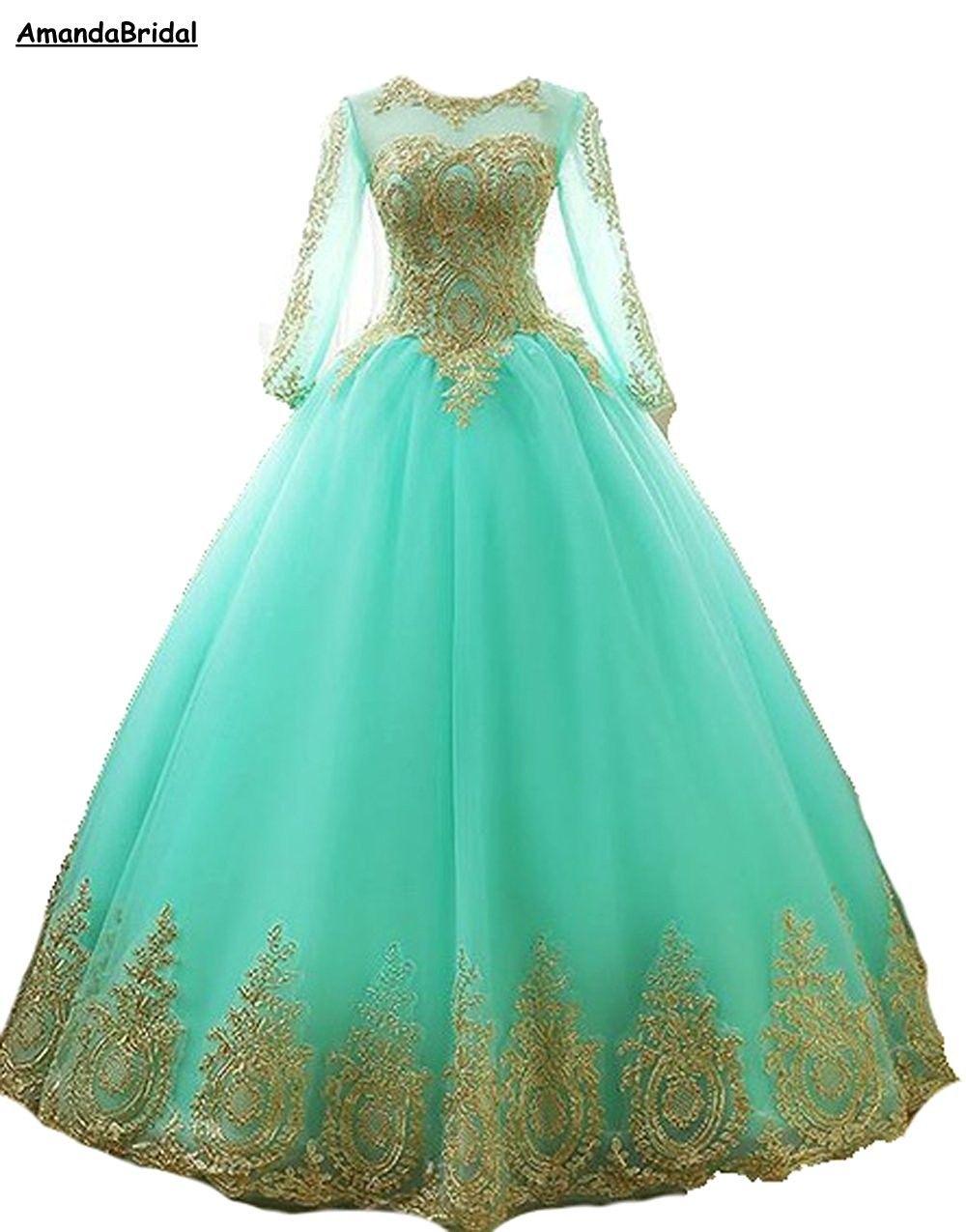 Amandabridal la manga larga de encaje vestidos de baile 2020 Nueva bola vestido largo Quinceañera vestidos de tul vestido formal Tamaño Plus
