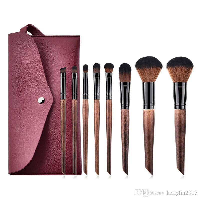 Make up Brushes Kit Wooden Handle Coffee Black Face Powder Eyeshadow Foundation Brush Professional Makeup Brushes Set High Quality
