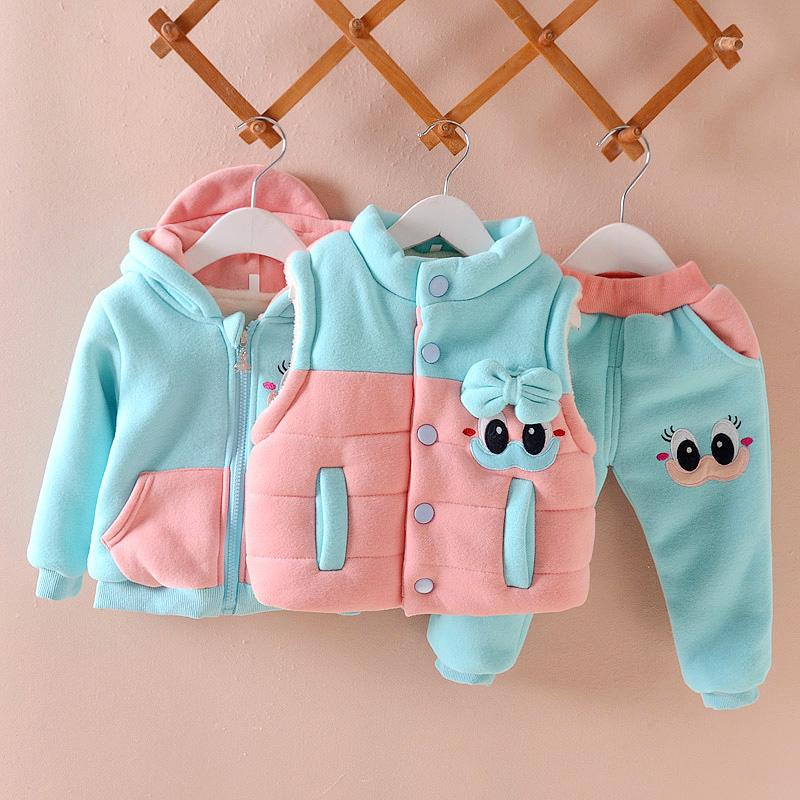 Девушки комплект одежды зима теплый жилет жилет + пальто + брюки костюм Костюм мультфильм мода костюм девочки 0-3years Детская одежда