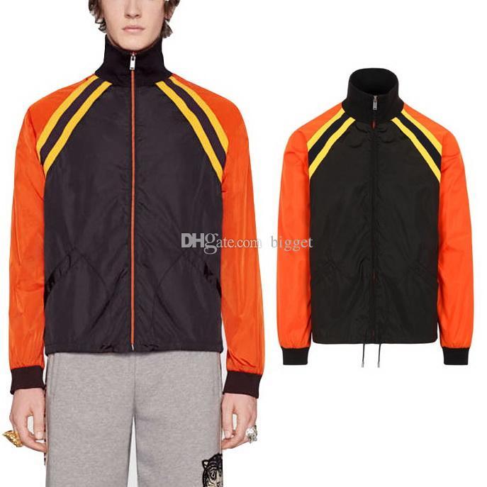 Colorblock Windbreaker Jacket Nylon Lightweight Black/Orange Slim Fit Sun Protective Wear Printed Letters On Back
