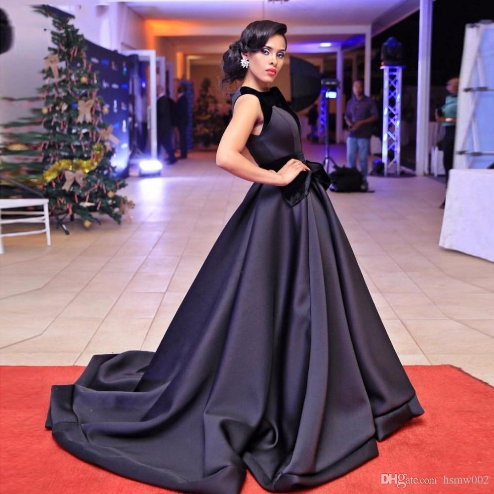 c014a985f25 New Jewel neckline Black Long Prom Dresses Elegant Simple Red Carpet  Celebrity Dress A-line Satin Evening Gowns Hot Sale Custom Made