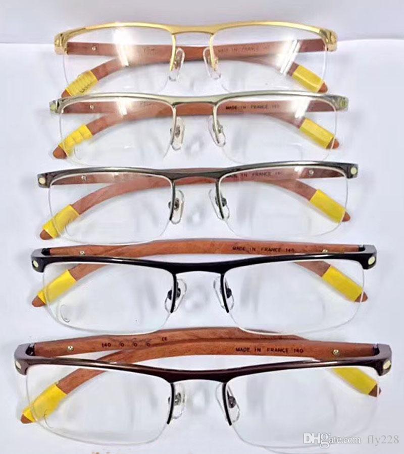 En çok satan gözlük çerçevesi yarım çerçeve 18k altın kaplama ultra hafif optik framewood bacaklar erkekler için iş tarzı en kaliteli kutu ile