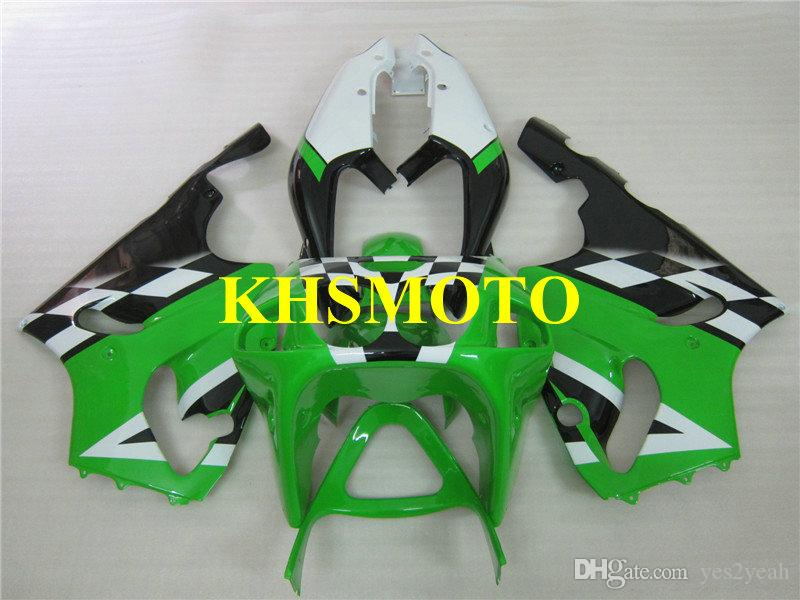 川崎忍者ZX-7R ZX7R 2003 ZX 7R 96 97 02 03グリーンホワイトオートバイフェアリングセット+ギフト