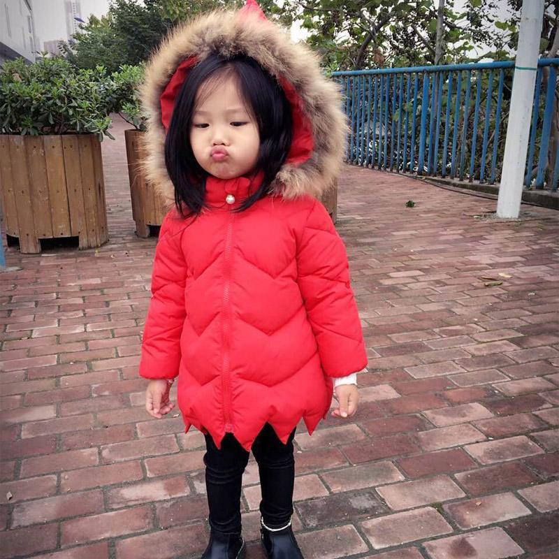Baby Girls Winter Down Jacket Clothes Niños Abrigos Parkas Abrigo Niños Navidad capucha de piel Chaqueta Baby meisjes Abrigo de Snowsuit
