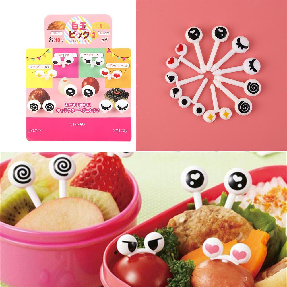 10pcs/Set Reusable Plastic Fruit Fork Toothpicks Mini Eye Fruit Fork Decorative Kids Lunch Box Bento Accessories Kitchen Tools