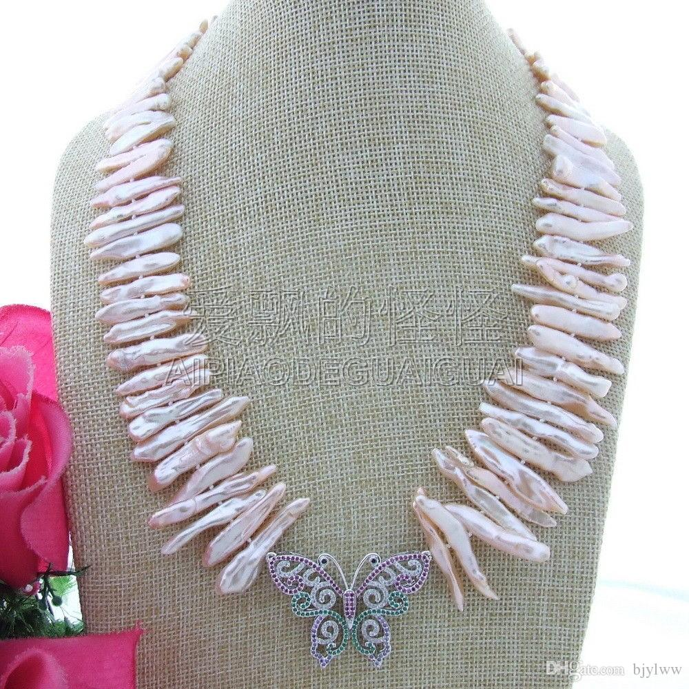 N013053 20'' Pink Biwa Pearl Necklace Butterfly CZ Pendant