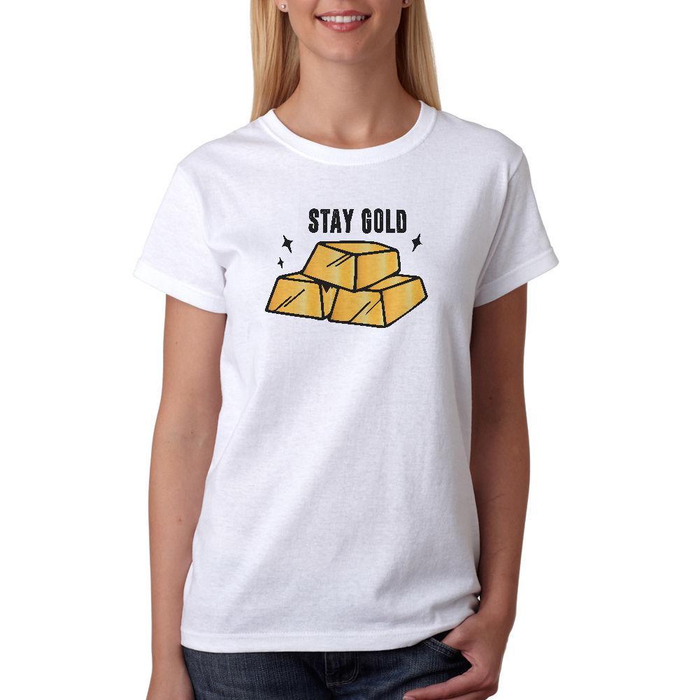 T das mulheres Fique Ouro T-shirt Novos Tamanhos S-Xl Para Femme Moda de Nova Estilo Harajuku Top Tee Boa Qualidade Da Marca T Shirt Mulheres Top De Algodão