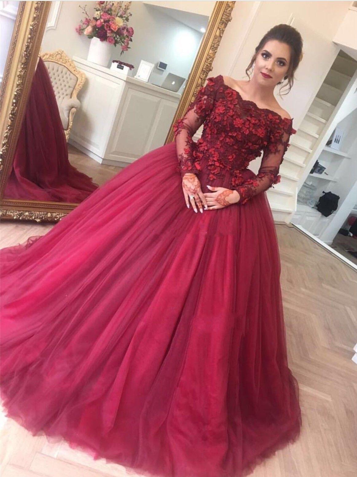 großhandel luxuriöse langarm ballkleid quinceanera kleider weinrot sweet 16  lace up zurück tüll prom dresses party kleider kleider für besondere