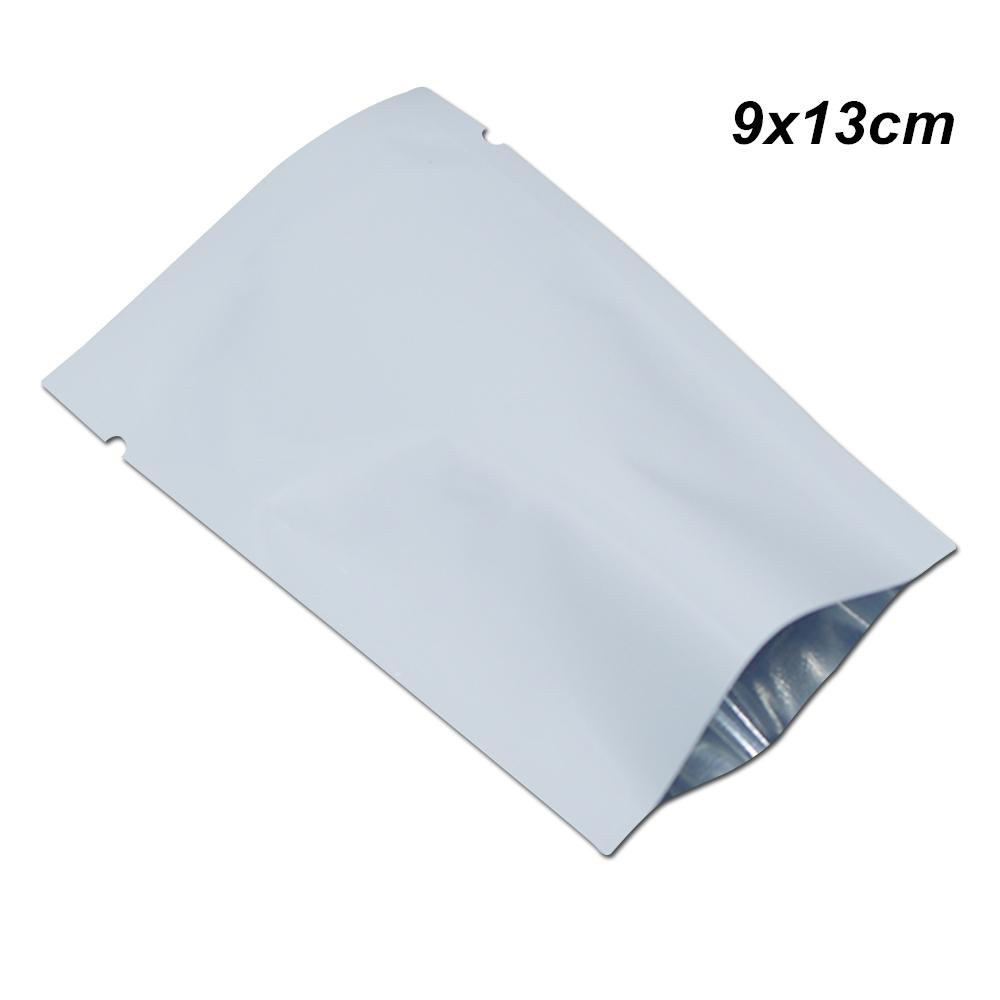 9x13 cm White Open Top Heat Sealable Foil Mylar Packets Food Storage Packing Bags Tear Notches Aluminum Foil Vacuum Sample Food Pack Pouches