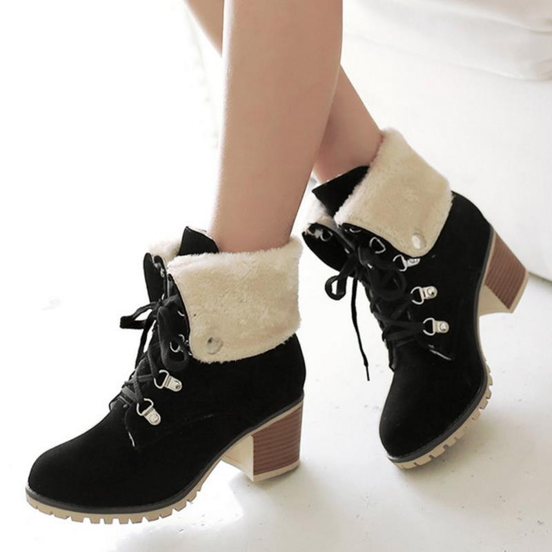 628fccf7d7 TAOFFEN Size 34-43 Ladies Thick Fur Ankle Boots Women High Heels Short  Boots With