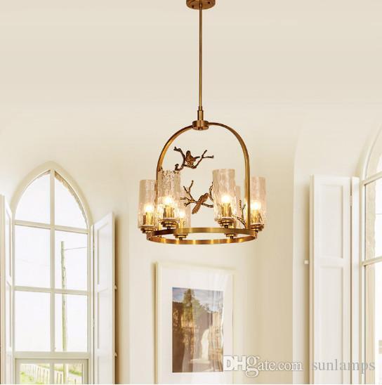 Regron Retro Escandinavo Innovatiove Post Modernas lámparas de cobre Lámpara Araña Araña Dormitorio Restaurante Willa Sala de estar Salón