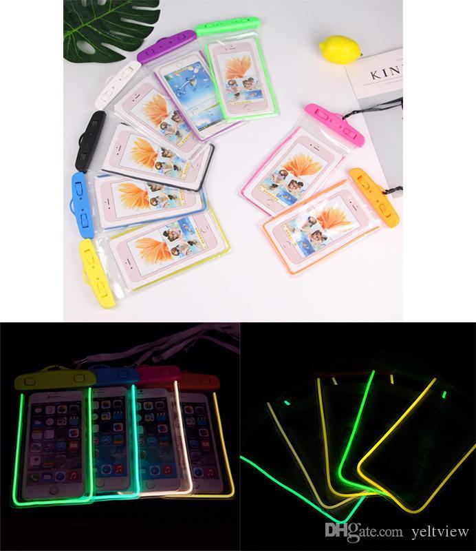 Luminous Phone Waterproof Case Bag universal para iphone 7 plus Funda Estuche a prueba de agua para samsung de hasta 5,5 pulgadas