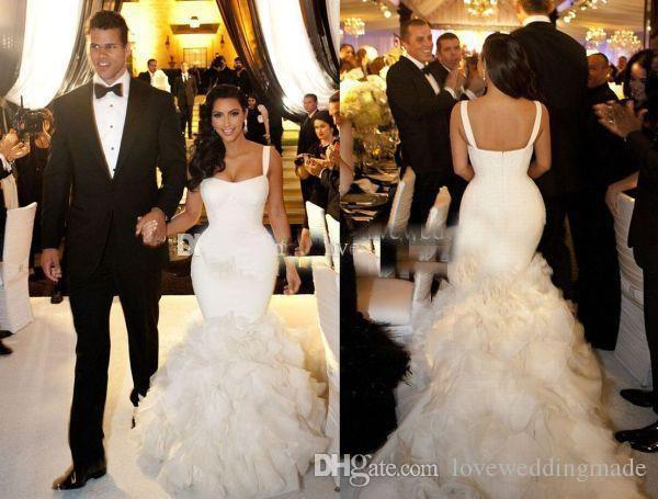 Sexy Fitted Trumpet Mermaid Bridal Wedding Dresses With Spaghetti Straps Celebrity Kim Kardashian Wedding Gown Custom Made Canada 2019 From