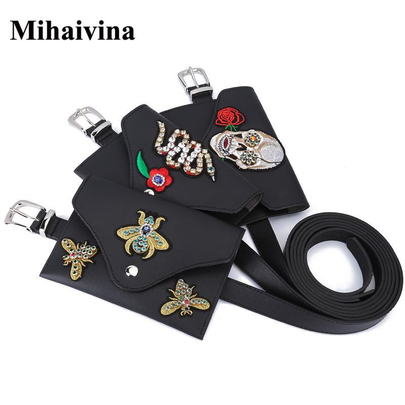Mihaivina Venda Quente Estilo Punk Crânio Cinto Decorativo Sacos De Couro Cinto de Moda Mão Livre Sacos Femininos Bolsa Bolsa Para Cintura Pack