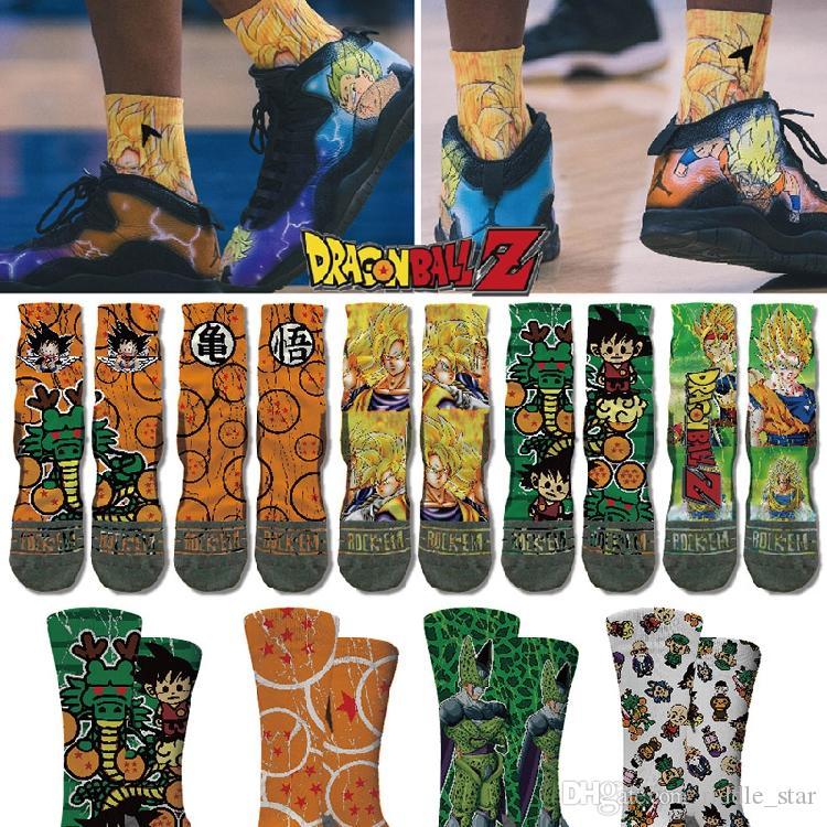 Hip Japón Calle Cabeza del mono animado Dragon Ball Son Goku Moda Unisex Deportes Hop largas medias de los calcetines de regalos