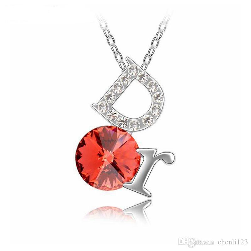 Necklaces with Pendant For Women The letter D Necklace 2018 New Fashion Jewelry Crystal from Swarovski