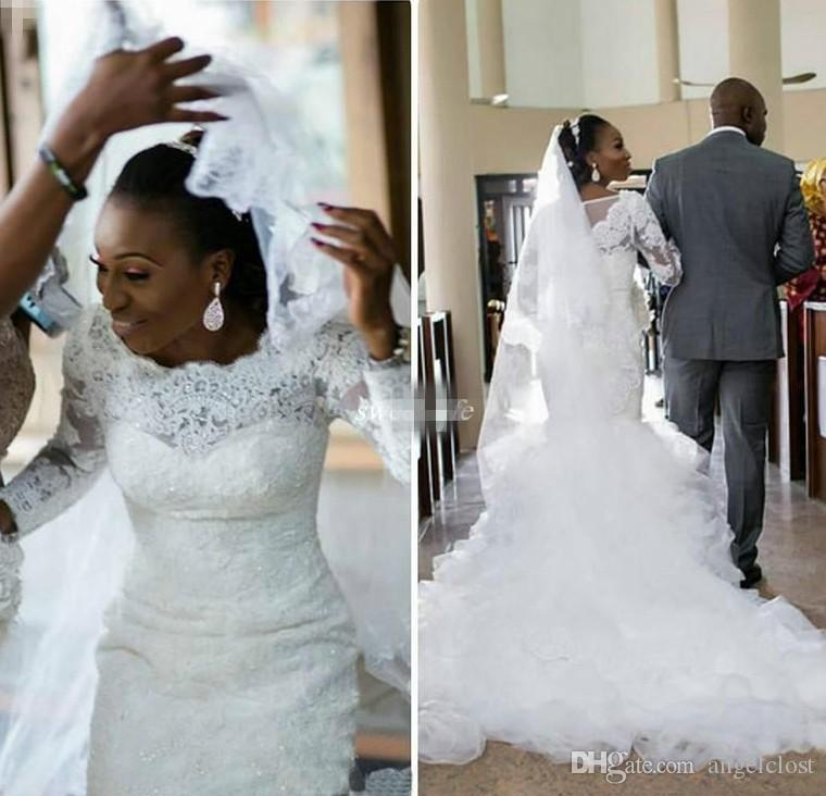 2018 старинные Африканская Русалка свадебные платья аппликации с длинными рукавами кружева поезд сад пляж свадебные платья свадебные платья Vestidos де novia на заказ