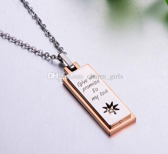 горячая нержавеющая сталь женская модель воды Алмаз звезда квадратное ожерелье корейский мода титана стали висеть украшения популярные горячие моды