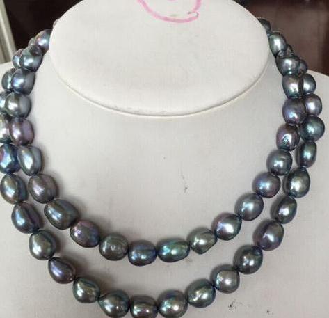 12-13mm por mayor collar de perlas naturales sur del Mar Negro azul 17inch 18inch del corchete del oro 14k