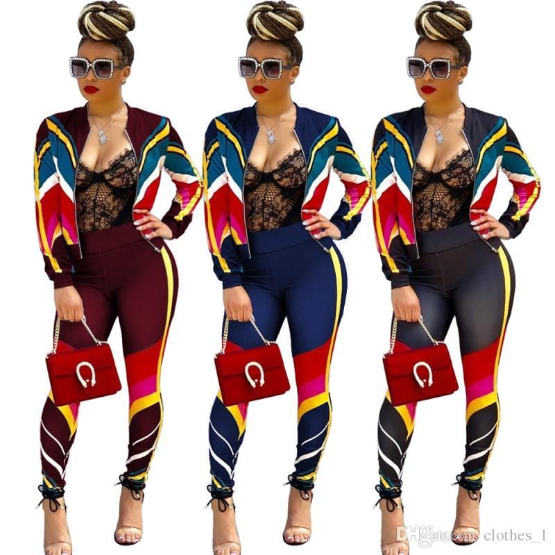 Womens Reißverschluss Winter Sportswear Langarm Jacke legging Outfits zweiteilige Set Sportsuit lässige Trainingsanzug 3 Farben s-3xl heiß b3