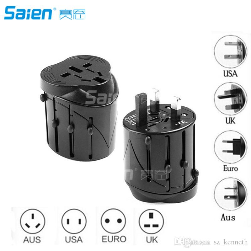 Universal World Travel Adapter with Multi-plugs and Universal Socket, AC-DC Conversion, USB Type A Ports UNIQUE FEATURE SuperGrip(TM)