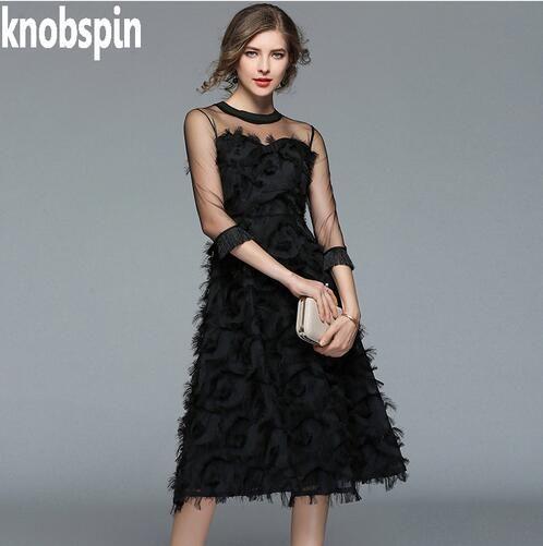 Brand Runway Tasseled Feather Dress Women Temperament Mesh Princess Dresses  Female Casual Slim Tunics Spring Clothing Plus Size Dresses For Prom ...