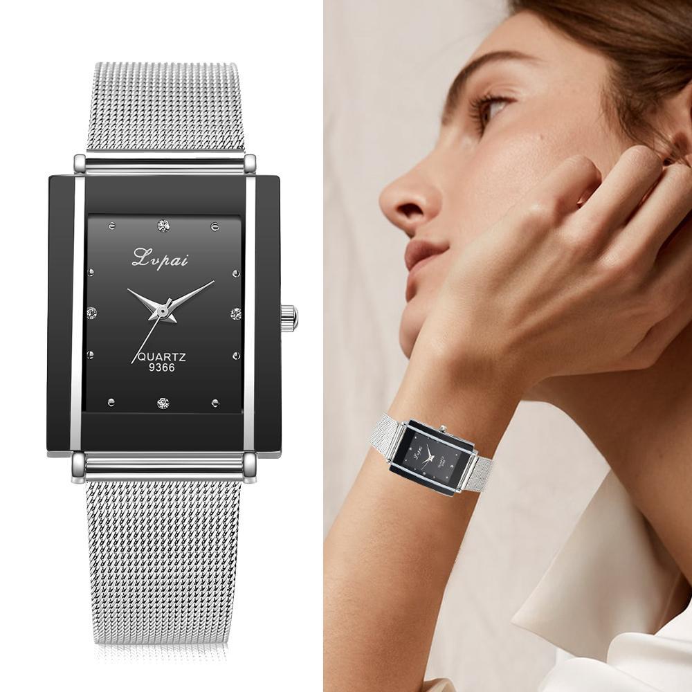Frauen Armbanduhr Silber Quadrat Luxus Kristall Legierung Armbanduhren Lvpai Marke Frauen Mode Herrenuhr Quarz Dropshiping