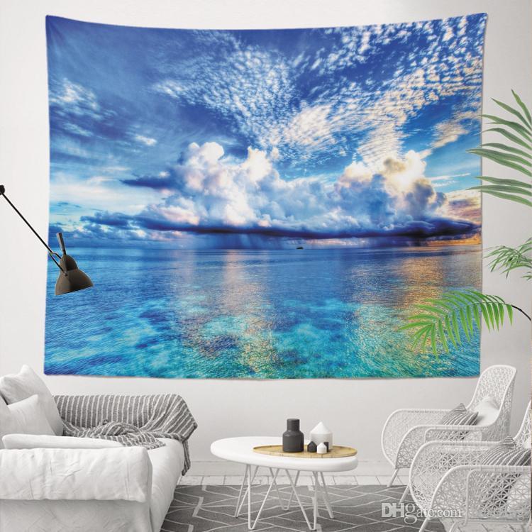 Vendita all'ingrosso Custom Made Miglior prezzo di fabbrica Stampa a sublimazione 130x150 cm Mare onde Paesaggio 400g Arazzo da parete per la decorazione della casa