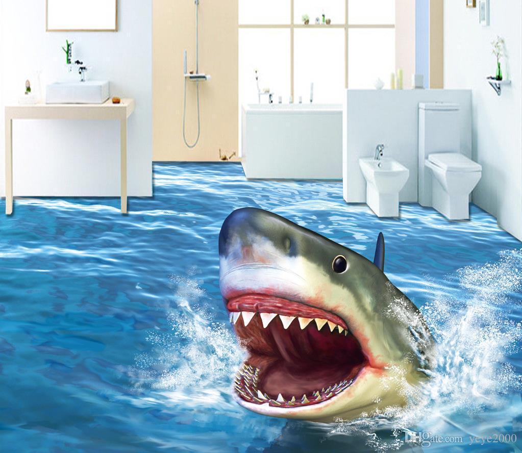 Acheter Photo Peintures Murales Papier Peint Ultra Hd Terroriste Requin 3d En Trois Dimensions Plan D étage Sans Soudure Moderne Salon Fonds D écran