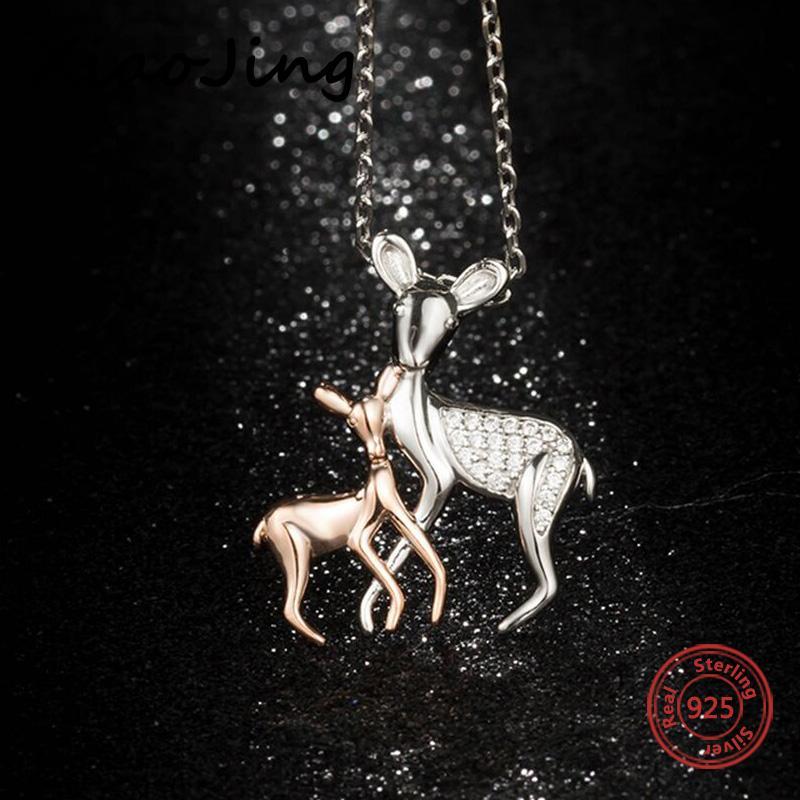 큐빅 지 르 코니 diy 패션 쥬얼리 여성 선물 만들기와 새로운 925 스털링 실버 귀여운 사슴 mombaby 펜던트 체인 목걸이