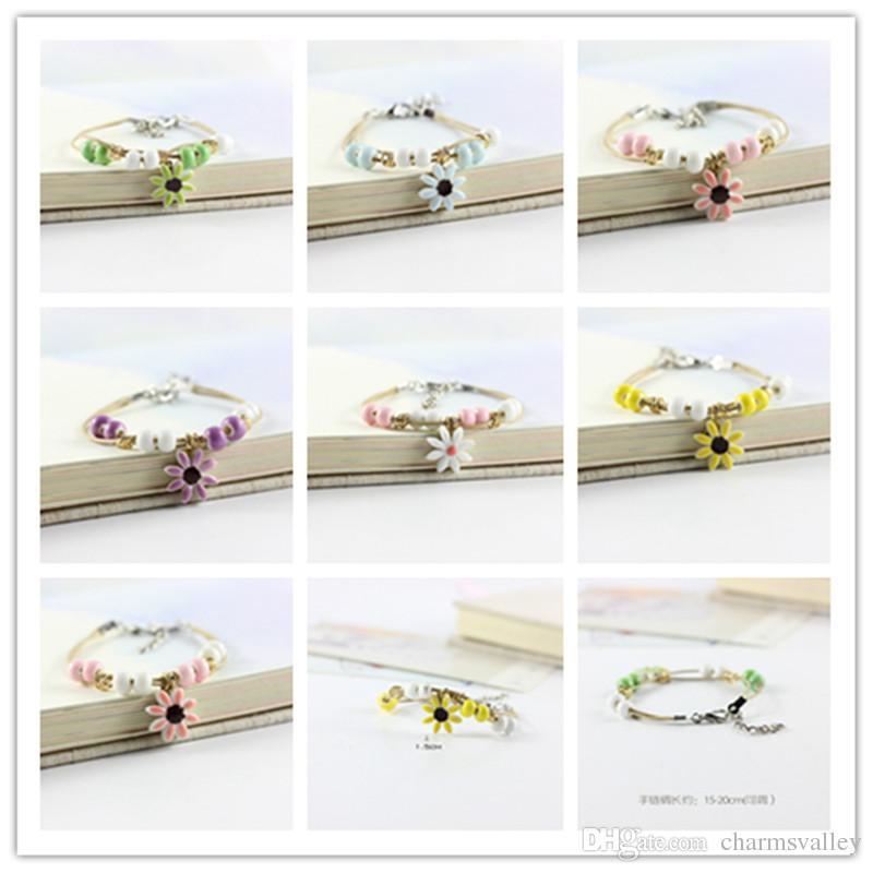 10pcs couleur mixte fleur de cerisier pendentif bracelet en céramique créative bijoux corde peut être réglable pour enfants enfants cadeaux